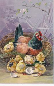 Easter Rooster & Young Chicks 1909 Tucks