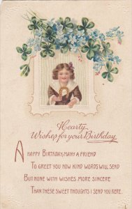 BIRTHDAY; 1900-1910´s; Girl With A Horse Shoe, Hearty Whises For Your Birth...