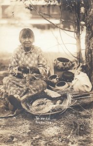 RP: YOSEMITE, California, 1900-10s; Ta-Bu-Ce, Native American Woman Weaving