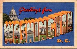 Washington D C Greetings Large Letter Linen 1943 Curteich