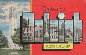 Large Letter Greetings from RALEIGH, North Carolina, 30-40s