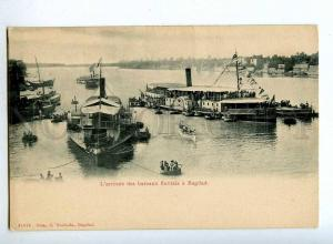 190337 IRAQ arrival of Houseboat in Baghdad Vintage postcard
