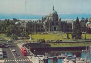 Causeway & Parliament Buildings Victoria BC Canada Canadian Postcard