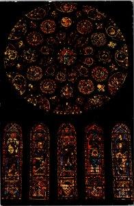 Reims France Postcard Cathedral Rose Sud unused 1960s