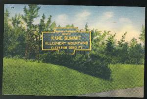 Kane PA Kane Summit Allegheny Mountains Pennsylvania Vintage 1941 linen Postcard