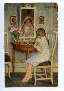 240605 Charming Girl Mirror by KJELLBERG-JUEL old WWI Feldpost