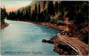 Scene on the Pacific Highway, Dirt Road Horse Auto Vintage Postcard O05