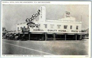 1940s Galveston, Texas Postcard SEAWALL HOTEL CAFÉ AND APARTMENTS Street View