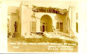 CA - Long Beach Earthquake, Mar. 10, 1933. Wreckage of One School *RPPC