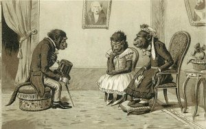 Old Trade Card; Dressed Monkeys, Mom likes Rich Suitor, Daughter not so Much...