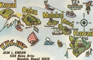 Jean Kincaid Radio QSL Kauai Oahu Molokai Maui Hawaii Postcard
