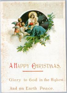 Mother Mary and baby Jesus with Angels - A Happy Christmas - Reproduction card p