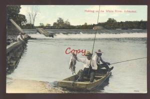 WHITE RIVER ARKANSAS FISHING FISH CATCH ROD AND REEL VINTAGE POSTCARD