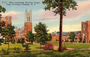 North Carolina Durham Main Quadrangle Showing Chapel Duke University Curteich