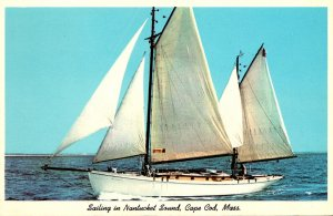 Massachusetts Cape Cod Ketch Ayuthia Sailing In Nantucket Sound Out Of Hyannis