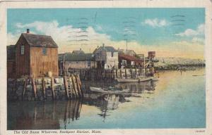 The Old Stone Wharves, Rockport Harbor,Massachusetts,PU-1941