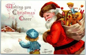 Vintage Artist-Signed CLAPSADDLE Christmas Postcard SANTA CLAUS w/ Boy in Snow
