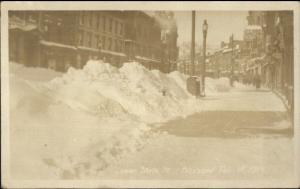 Lower State Street Blizzard 1914 - Bangor or Portland ME Real Photo Postcard