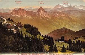 Switzerland Bahnhof Rigi Scheidegg Blick auf Mythen und Glarnloch Postcard