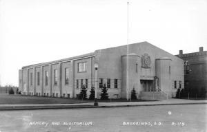 Brookings South Dakota~Armory & Auditorium~Seal Above Entrance~1940s RPPC
