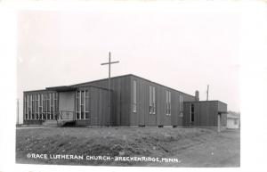 Breckenridge MN New Grace Lutheran Church~Not A Tree in Sight~RPPC 1950s