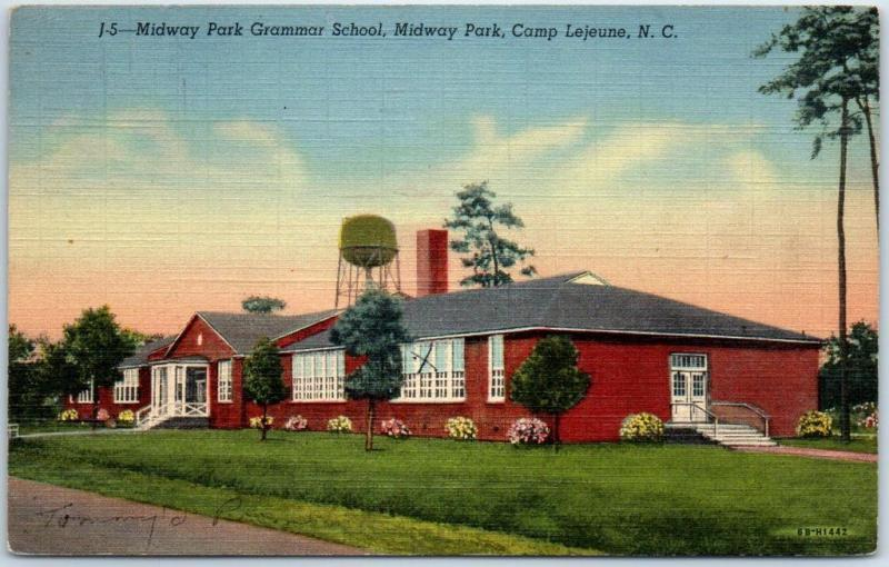 Camp Lejeune North Carolina Postcard Midway Park Grammar School Linen 1950