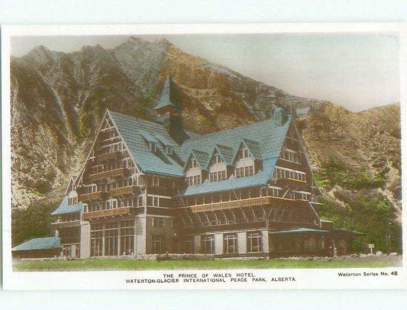 old rppc PRINCE OF WALES HOTEL Waterton Park - Near Lethbridge Alberta AB W0807