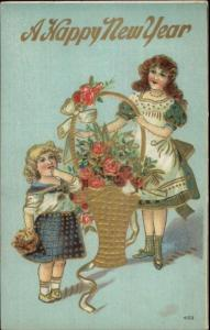New Year - Girls w/ Gold Basket of Flowers c1910 Postcard