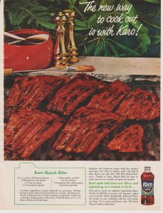 Karo Syrup 1965 Print Ad, The New Way to Cook Out, Grill with Ribs