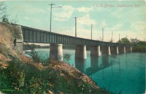 Logansport Indiana Union Traction Railroad Bridge~1909 Postcard