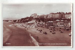 P1068 vintage unused RPPC west cliff & sands beach bournemouth great britain