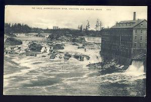 Early Lewiston & Auburn, Maine/ME Postcard, The Falls, Androscoggin River