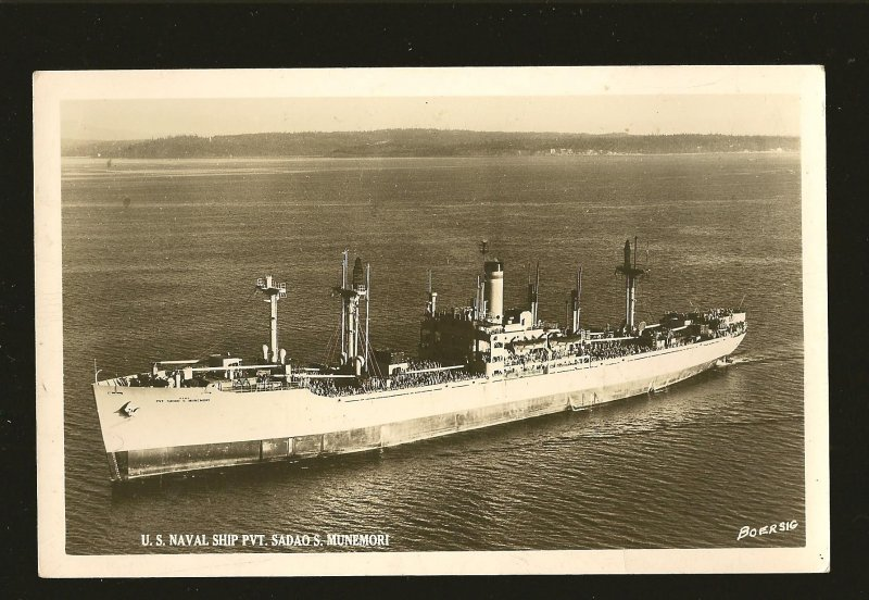 US Naval Ship PVT Sadao S Munemori/ Boersig Real Photo Postcard Unposted