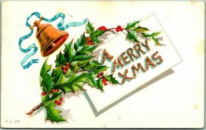 Vintage CHRISTMAS Greetings Embossed Postcard A MERRY XMAS Gold Bell 1909 Cancel