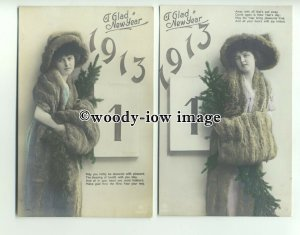 su2305 - Calender Girl in Furs Pose for 1913  New Year & Poem - Postcards x 2