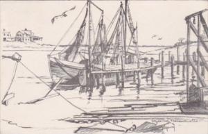 Massachusetts Cape Cod Hyannis Harbor Scene 1949