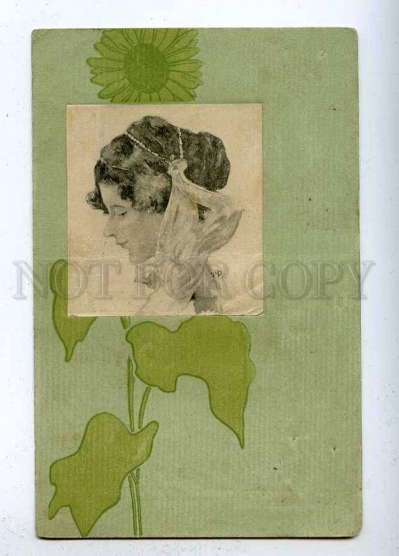 202766 ART NOUVEAU Head Female by KIRCHNER Vintage B.R.W. #426