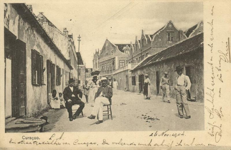 curacao, D.W.I., WILLEMSTAD, Street Scene with People (1904)