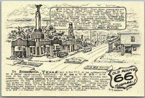 1990 ROUTE 66 Roadside Postcard Artist-Signed R. WALDMIRE SHAMROCK, TEXAS