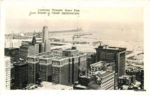 1930s Chicago Illinois Birdseye Navy Pier Board Trade Observatory RPPC 507