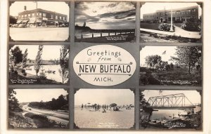 H24/ New Buffalo Michigan RPPC Postcard c1938 8View Bridge School 34