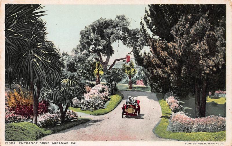 Entrance Drive, Miramar, California Early Postcard, unused