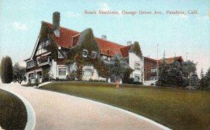 BUSCH RESIDENCE Orange Grove Ave, Pasadena, CA c1910s Vintage Postcard