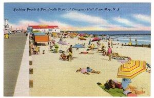 Cape May, N.J., Bathing Beach & Boardwalk Front of Congress Hall