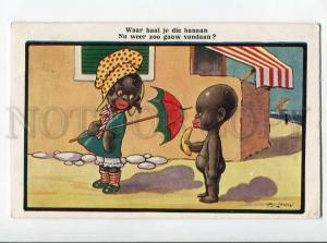 264919 BLACK AMERICANA Kids PARASOL Banana FG LEWIN vintage PC