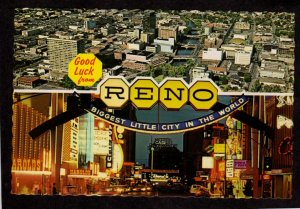 NV Good Luck From Reno Nevada Postcard Casinos Hotels Arch