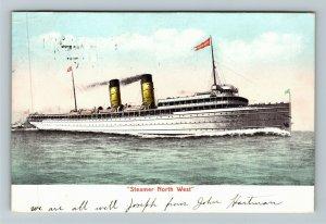 Steamer North West Vintage c1907 Postcard