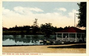 RI - Pawtucket. Slater Park, Boat House and Lake