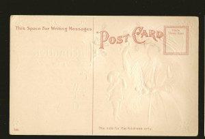 Copyright 1909 H Wessler Embossed Color Valentines Postcard Unposted