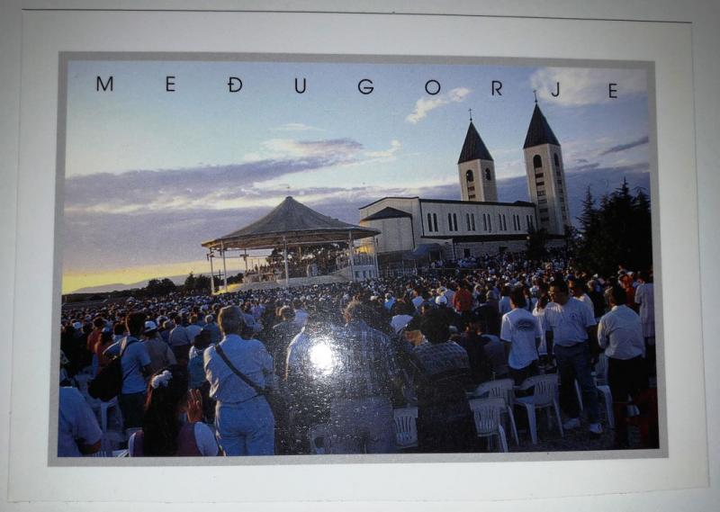 Medugorje, Bosnia and Herzegovina, View of the mass on the open air